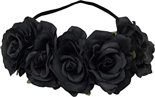 Sanrich Rose Flower Crown Large Flowers Headpiece Mexican flower Crowns Wedding Party Headband Photo Shoot Pets Hair Garland Costume Outfit (black)