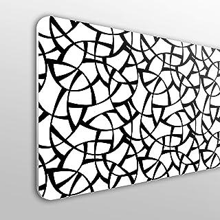 MEGADECOR Cabecero Cama PVC 10mm Decorativo Económico. Fondo Geométrico Blanco Y Negro (135cm x 60cm)