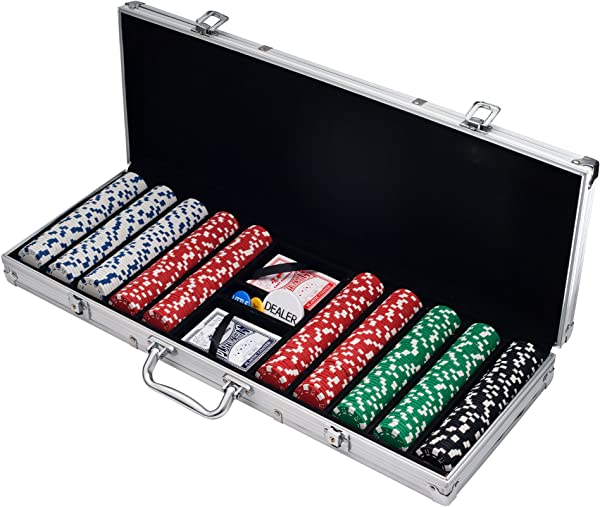 Poker Chip Set For Texas Holdem Blackjack Gambling With Carrying Case Cards Buttons And 500 Dice Style Casino Chips 11 5 Gram By Trademark Poker