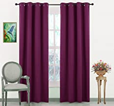 Jupon Silk Blackout Curtain (Pack of 1 Piece) with 3 Layers Weaving Technology & Solid Grommet Pattern/Thermal Insulated Draperies Energy Saving (Long Door - 48inch X 96inch) Violet