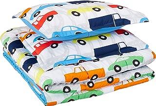 AmazonBasics Kid's Comforter Set - Soft, Easy-Wash Microfiber - Full/Queen, Multi-Color Racing Cars