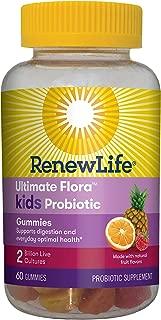 Renew Life Kids Probiotic - Ultimate Flora Kids Probiotic Gummies Probiotic Supplement - Dairy & Soy Free - 2 Billion CFU - Fruit Flavor, 60 Chewable Gummies