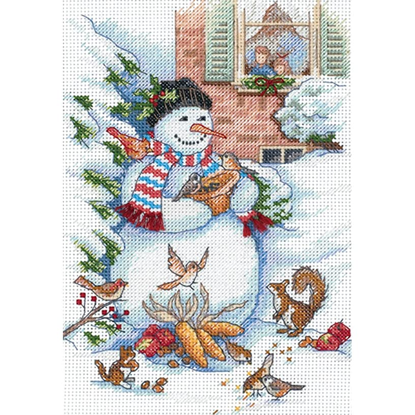 Dimensions Gold Collection Counted Cross Stitch Kit, Snowman and Friends, 18 Count White Aida, 5'' x 7''