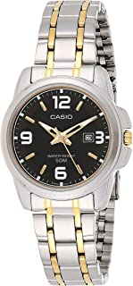 Casio Enticer Women's Black Dial Two Tone Stainless Steel Analog Watch - LTP-1314SG-1AVDF