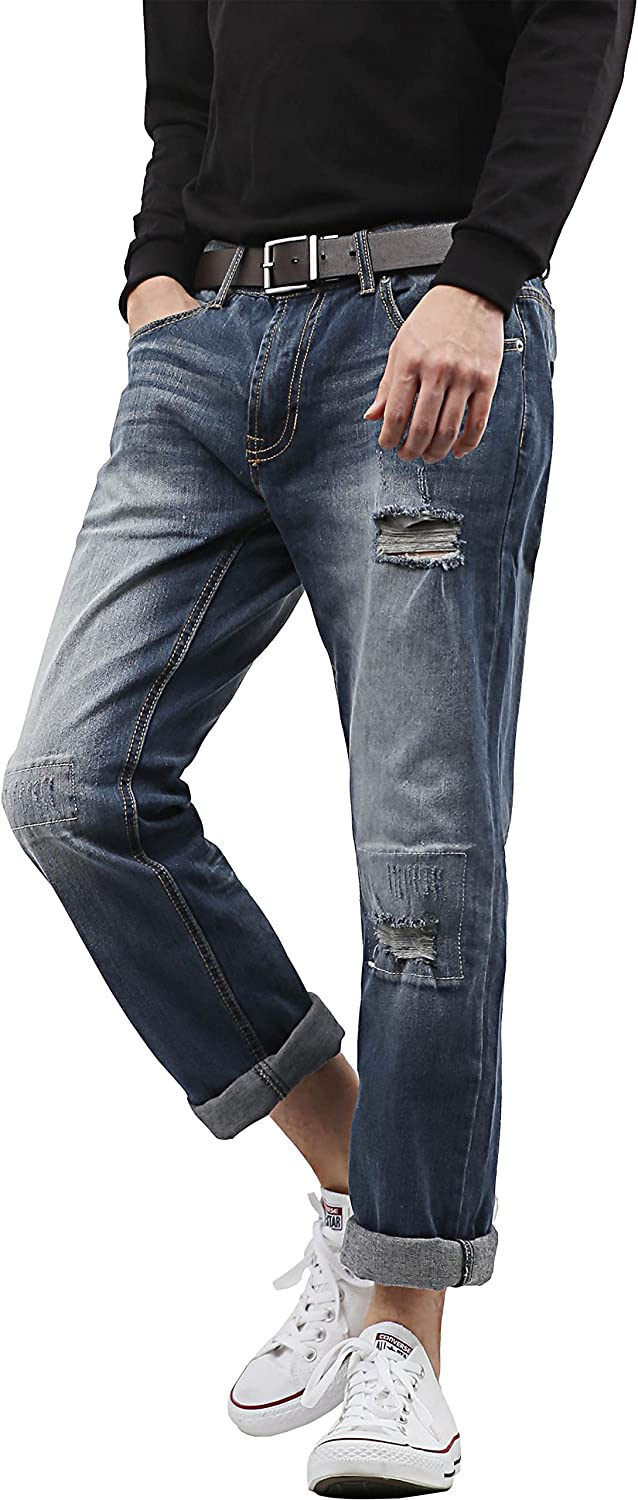 Hat and Beyond PI Mens Slim Stretch Jeans Classic Skinny Fit Casual Distressed Denim Pants 1115