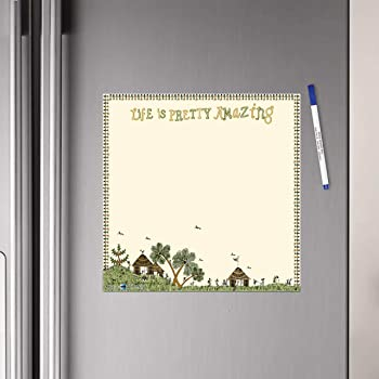 WallDesign Vinyl Life is Pretty Amazing Writing Film Flexible Fridge Magnet (1ft x 1ft, Cream))
