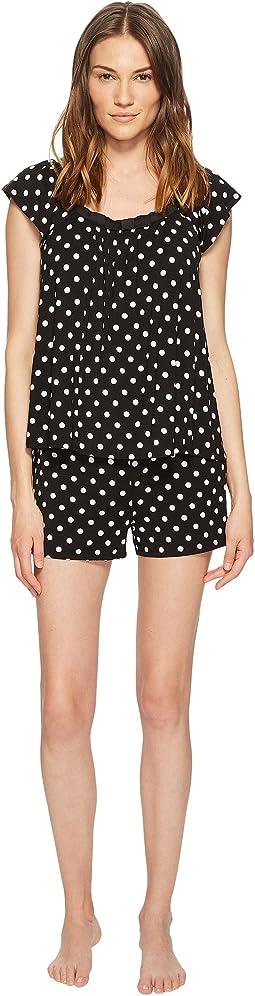 Kate Spade New York - Black Framed Dot Short Pajama Set