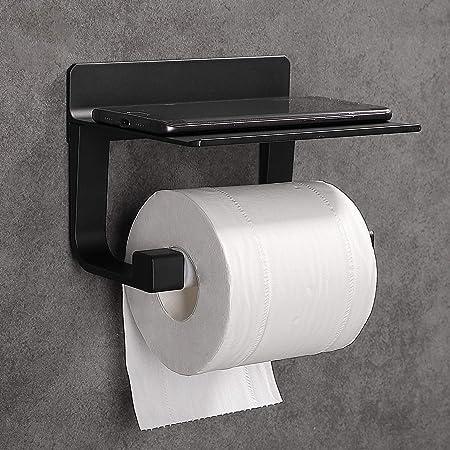 Hoomtaook Derouleur Papier Toilette Porte Papier Toilette Mural Support Papier Toilettes Auto-adhésif, Aluminium Noir