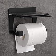Hoomtaook toiletrolhouder zwart zonder boren Zelfklevende toiletrolhouder zonder boren, ruimte aluminium, matte afwerking ...