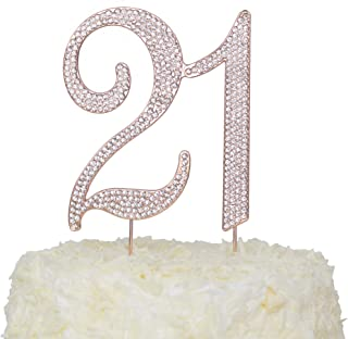LOVENJOY with Gift Box Crystal Rhinestone 21 Cake Topper for 21th Birthday or Wedding Anniversary Decoration Rose Gold, 3.7 X 4.5