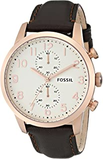 Fossil Men's FS4987 Townsman Chronograph Leather Watch - Brown with Rose-Gold Accents