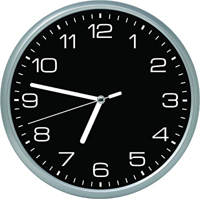 Essentially Yours Large 12 Inch Non Ticking Modern Wall Clock with Silent Sweeping Movement, Battery Operated and Included |Bedroom, Living Room, Office Décor, Black