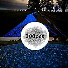 300pcs Glow in The Dark Pebbles for Walkways Décor, Outside Bulk Glow in The Dark Rocks for Outdoor Fairy Garden, Glowing Stones for Driveway, Fish Tank Aquarium Glow Decorations Gravel, White/Blue