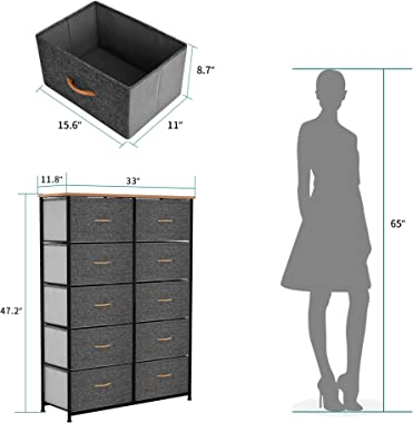 YITAHOME 10 Drawer Dresser - Fabric Storage Tower, Organizer Unit for Bedroom, Living Room, Hallway, Closets & Nursery -