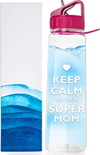 Water Bottle with Time Marker for Busy Moms 30 Ounce With Straw, Flip Top and Carrying Loop for Ease and Convenience. No BPA, Eco Friendly. Keep Calm, You Are a Super Mom Hot Pink