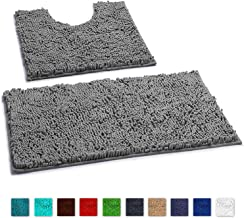 LuxUrux Bathroom Rugs Luxury Chenille 2-Piece Bath Mat Set, Soft Plush Anti-Slip Shower Rug +Toilet Mat.1'' Microfiber Shaggy Carpet, Super Absorbent Machine Washable Mats (Curved Set, Light Grey)