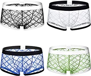 Men's Sheer Boxer Briefs Mesh Transparent Underwear Sexy See Through Underpants, Pack of 4