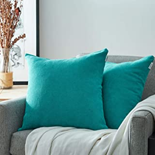 Top Finel Decorative Pillow Covers Set Soft Chenille Solid Cushion Covers 24 X 24 for Couch Bedroom Car, Pack of 2, Teal