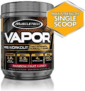 Muscletech 肌肉科技 Vapor One 锻炼前增肌粉,每勺含有盐酸甜菜碱,肌酸和丙胺酸成分,补充能量&增肌,彩虹水果糖口味,20份(14.8盎司/421克)