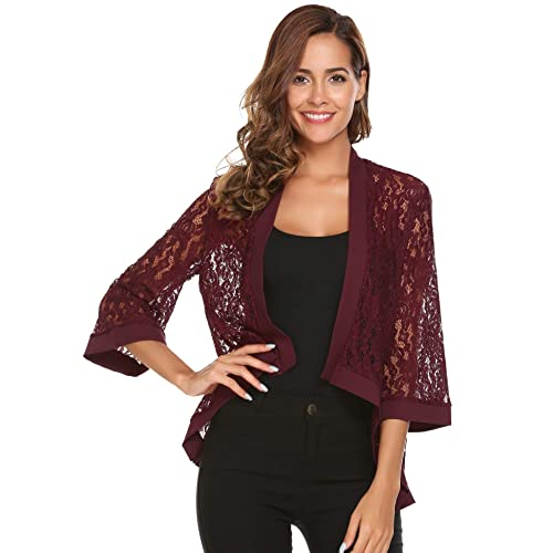 11d1625e1 Zeagoo Women s Casual Lace Crochet Cardigan 3 4 Sleeve Sheer Cover Up Jacket  Plus Size