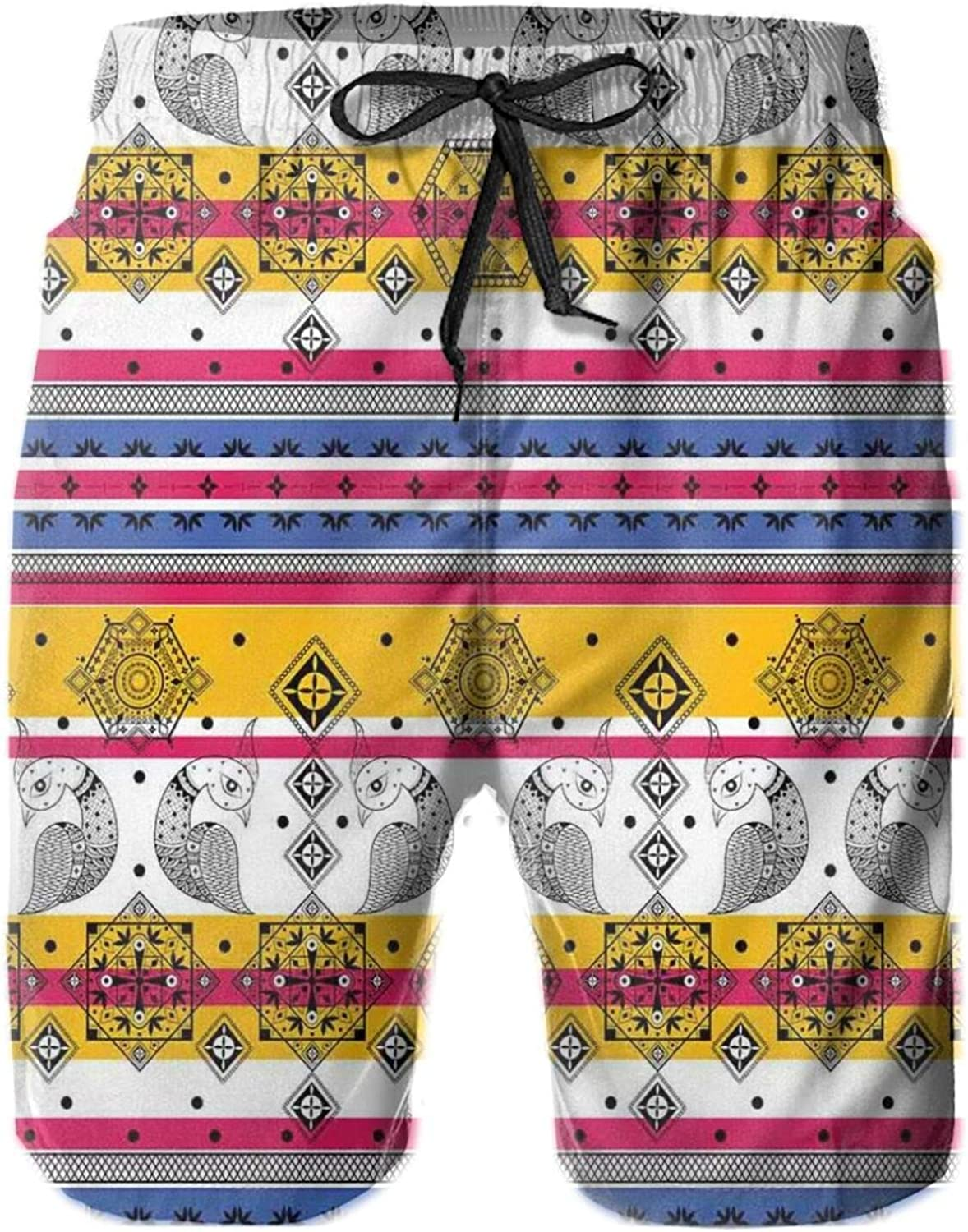 Colored Ethnic with Paisley Details with Animal Birds in Aztec Print Drawstring Waist Beach Shorts for Men Swim Trucks Board Shorts with Mesh Lining,L