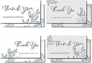 Avamie 120 Pack Thank You For Supporting My Small Business Cards, 2x3.5 inch 4 Unique Modern Floral Designs Thank You Card...