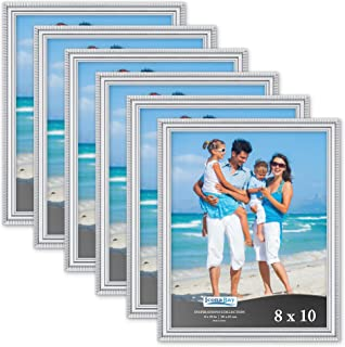 Icona Bay 8x10 Picture Frames (6 Pack, Silver) Picture Frame Set, Wall Mount or Table Top, Set of 6 Inspirations Collection