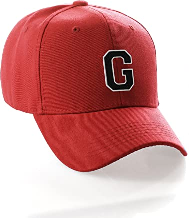 Classic Baseball Hat Cap Custom A-Z Initial - Red Hat with White Black Letter