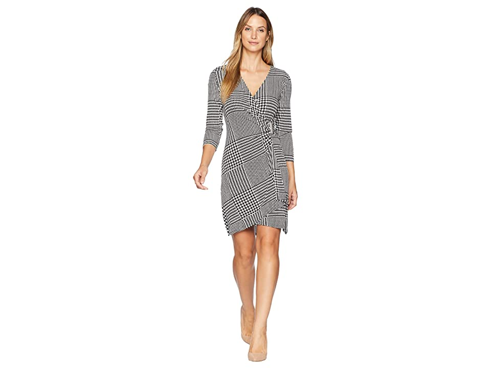 Calvin Klein Printed 3/4 Dress with Hardware (Black/White Plaid) Women