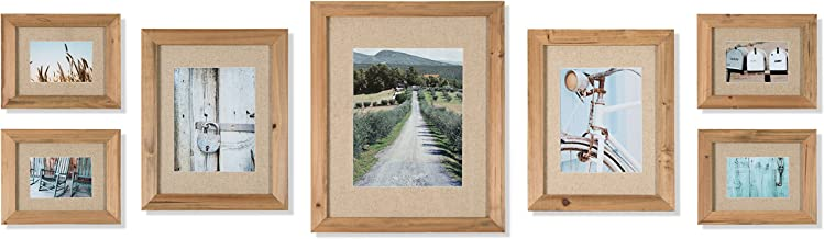 Gallery Perfect Rustic Wood & Linen Gallery Wall Kit Photo Decorative Art Prints & Hanging Template Picture Frame Set, Mul...