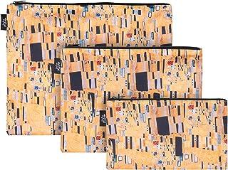 Baagl Reißverschlusstaschen für Reiseutensilien – Koffer Organizer Taschen Set 3-teilig - Kulturtasche Kosmetiktasche für Damen und Mädchen – Kleine Makeup Schminktasche Klimt