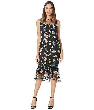 Calvin Klein Floral Lace Dress with Ruffle Hem (Black/Cabaret Multi) Women