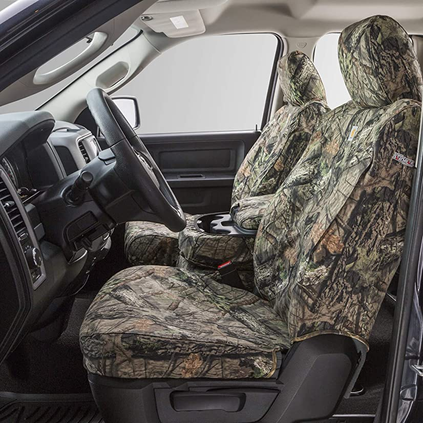 Covercraft Carhartt Mossy Oak Camo SeatSaver Front Row Custom Fit Seat Cover for Select Ford F-250 Super Duty/F-350 Super Duty Models - Duck Weave (Break-Up Country)