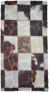 Ahujasons Mujeres patchwork imprimir bufanda de mezcla de lana Marrón