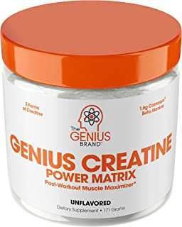 Genius Creatine Powder – Pro Post Workout Recovery Drink for Lean Muscle Gain | Creapure Monohydrate, HCL & Beta Alanine | Natural Anabolic Mass Gainer for Men & Women - Serious Muscle Builder, 171G