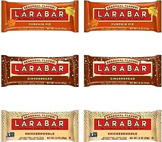 LÄRABAR 3 Flavor Seasonal Variety, Gingerbread(2 Bars), Snickerdoodle(2 Bars), Pumpkin Pie(2 Bars) (Pack of 6 Total Bars)