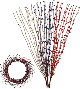 Artificial Patriotic Pip Berry Vines Red White Blue Floral Picks Stems for Independence Day Christmas Home Decoration Wreath Making Garland Floral Arrangement DIY Craft (30 Pieces, 64.0 Ft in Total)