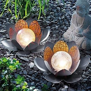 Auifor Lampe Solaire LED en Forme de Fleur de Lotus,Lampe Solaire de Jardin d'extérieur en Verre craquelé ambré,Étanche,pe...