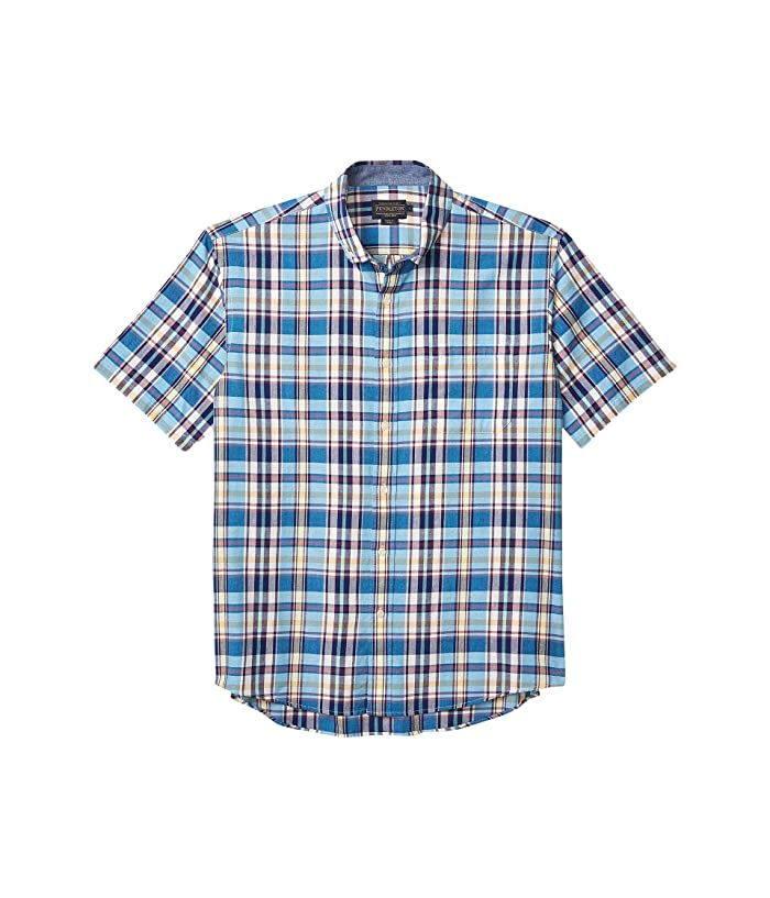 1950s Men's Shirt Styles – Dress Shirts to Casual Pullovers Pendleton Short Sleeve Madras Shirt Blue Multi Plaid Mens Clothing $62.55 AT vintagedancer.com
