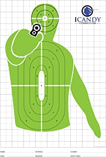 iCandy Combat Green Shooter Paper Targets - High Viz Shooting Range Training Target For Shooters