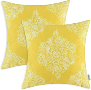 CaliTime Pack of 2 Cozy Throw Pillow Cases Covers for Couch Bed Sofa Manual Hand Painted Print Vintage Mandala Floral 18 X 18 Inches Vibrant Yellow