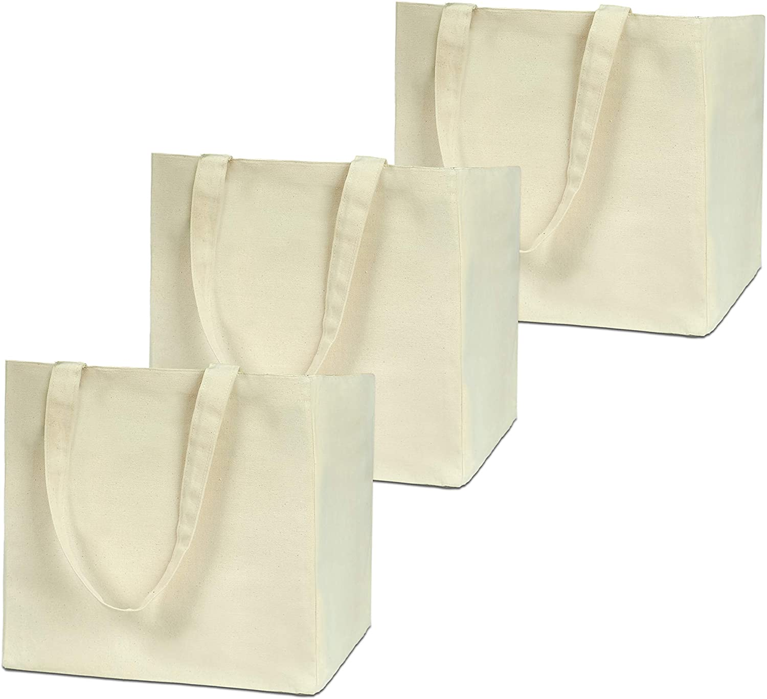 Reusable Grocery Bags XL Selling and selling Very popular! 3 Pack Duty Heavy Canvas Double Bottom