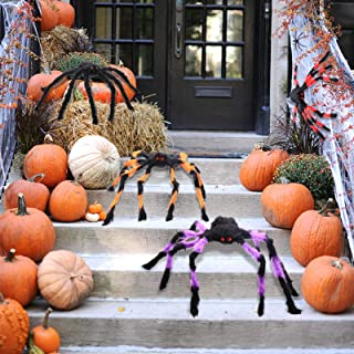 PETUOL Spider Decoration Set, 6 Pack Scary Hairy Spider Web Set, Cobwebs Props for Halloween Thanksgiving Day Christmas In...