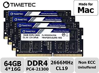 Timetec Hynix IC 64GB KIT(4x16GB) Compatible for Apple 2019 iMac 27-inch w/Retina 5K Display DDR4 2666MHz PC4-21300 2Rx8 CL19 1.2V SODIMM Memory RAM Upgrade (64GB KIT(4x16GB))