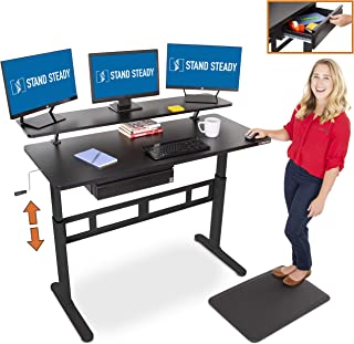 Stand Steady Tranzendesk 55 Inch Standing Desk with Clamp On Shelf and Under Desk Drawer - Easy Crank Stand Up Desk with Attachable Monitor Riser – Add Desk Space with Convenient Drawer (55