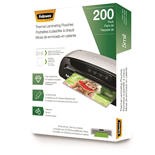 Fellowes Thermal Laminating Pouches, Letter Size Sheets, 5mil, 200pk