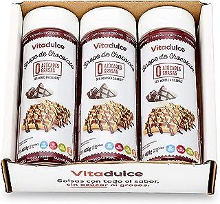 Sirope de chocolate sin azúcar, Topping de chocolate, Sirope bajo en calorías 400 gr. Pack de 3 unidades - Vitadulce