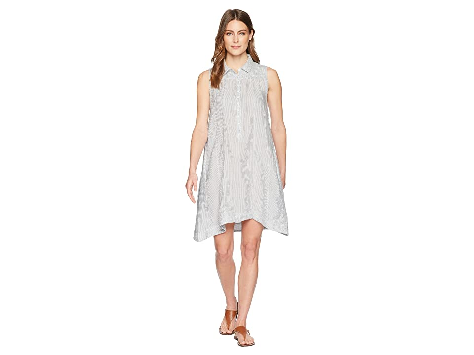 Dylan by True Grit Classic Stripe Shirred Sleeveless Shirt Dress with Lining and Pockets (Grey/White) Women