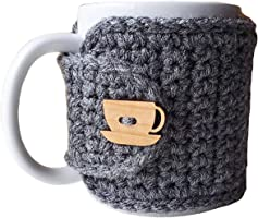 Mug Cozy Grey with Cup and Saucer Button
