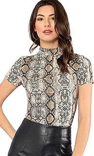 Women's Short Sleeve Snakeskin Turtle Neck Slim T-Shirt Tops